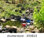 A woman washing her clothes in a small river...