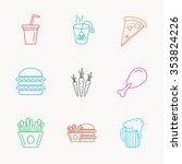 hamburger  pizza and soft drink ... | Shutterstock . vector #353824226