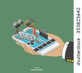mobile video editor flat... | Shutterstock .eps vector #353825642