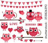 pink vector valentine owls and... | Shutterstock .eps vector #353826392