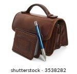 businnes card case with blue pen | Shutterstock . vector #3538282