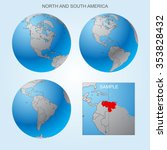 globe set with north and south...   Shutterstock .eps vector #353828432