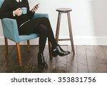 blogger girl checking her... | Shutterstock . vector #353831756