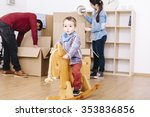 child playing with a wooden... | Shutterstock . vector #353836856