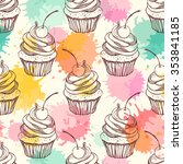 Seamless Pattern With Cupcakes. ...