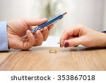 husband is giving pen to sign... | Shutterstock . vector #353867018