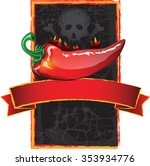 jalapeno hot sauce label with a ... | Shutterstock .eps vector #353934776