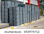 plastic crates stacked  packing ... | Shutterstock . vector #353974712