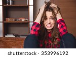 portrait of a stressed woman... | Shutterstock . vector #353996192