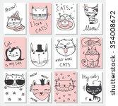 Vector Doodle Cute Cats Avatars