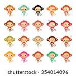 cute monkey cartoon vector | Shutterstock .eps vector #354014096