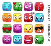 funny cartoon square jelly...
