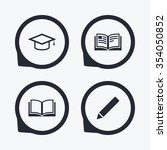 pencil and open book icons.... | Shutterstock .eps vector #354050852