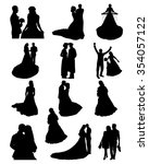 bride and groom silhouettes  | Shutterstock . vector #354057122