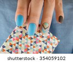 blue manicure in light and dark ... | Shutterstock . vector #354059102