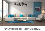 interior with sofa. 3d... | Shutterstock . vector #354065822