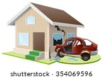 car crashed into house.... | Shutterstock . vector #354069596