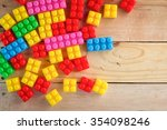 colorful plastic toys blocks... | Shutterstock . vector #354098246