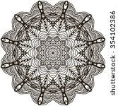 mandala coloring illustration.... | Shutterstock .eps vector #354102386