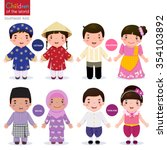 kids in traditional costume ... | Shutterstock .eps vector #354103892