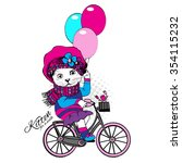 vector  clothing cat with pink... | Shutterstock .eps vector #354115232