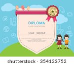 kids diploma preschool... | Shutterstock .eps vector #354123752