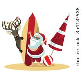 Cartoon Santa Claus Waves Hell...