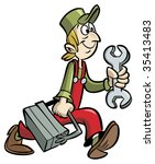 handyman cartoon holding wrench ... | Shutterstock .eps vector #35413483