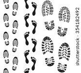 seamless boot and foot prints | Shutterstock .eps vector #354182492