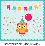 vector birthday card with a... | Shutterstock .eps vector #354186362