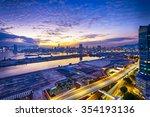 hong kong city sunset  view...   Shutterstock . vector #354193136