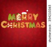 xmas gingerbread cookies text  | Shutterstock . vector #354210365