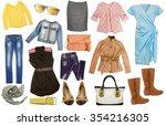 fashion female set clothes... | Shutterstock . vector #354216305