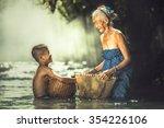 grandmother and grandchildren...   Shutterstock . vector #354226106