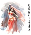 Watercolor Belly Dancer Wearing ...