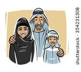 happy arabic family illustration | Shutterstock .eps vector #354231308