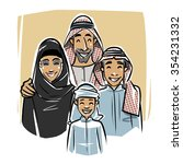 happy arabic family illustration | Shutterstock .eps vector #354231332