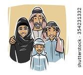 happy arabic family illustration | Shutterstock .eps vector #354231332