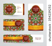 business cards with mandala.... | Shutterstock .eps vector #354239252