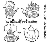 vector set tea kettles from... | Shutterstock .eps vector #354240536