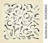hand drawn arrows icons set.... | Shutterstock .eps vector #354240662