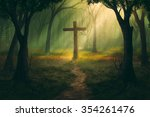 a single cross in the middle of ... | Shutterstock . vector #354261476