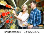 positive young customers with... | Shutterstock . vector #354270272