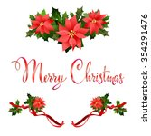 merry christmas poinsettia... | Shutterstock .eps vector #354291476