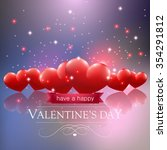 valentines day card with hearts ... | Shutterstock .eps vector #354291812
