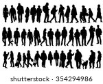 silhouettes of people walking... | Shutterstock .eps vector #354294986