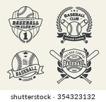 set of vintage baseball labels... | Shutterstock .eps vector #354323132