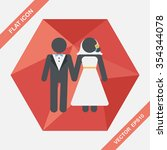 wedding couple flat icon with... | Shutterstock .eps vector #354344078