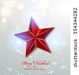 red christmas star with snow ...   Shutterstock .eps vector #354344282