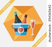 valentine's day champagne flat... | Shutterstock .eps vector #354365642